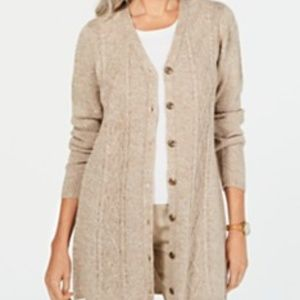 Petite Button-Front Duster Cardigan